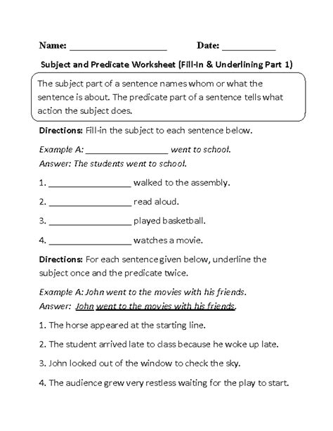 16 best images of complete predicate worksheets subject