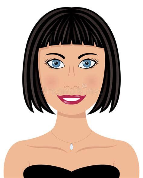 mulher dos olhos azuis do cabelo preto ilustra 231 227 o do vetor ilustra 231 227 o de desenho 27390480