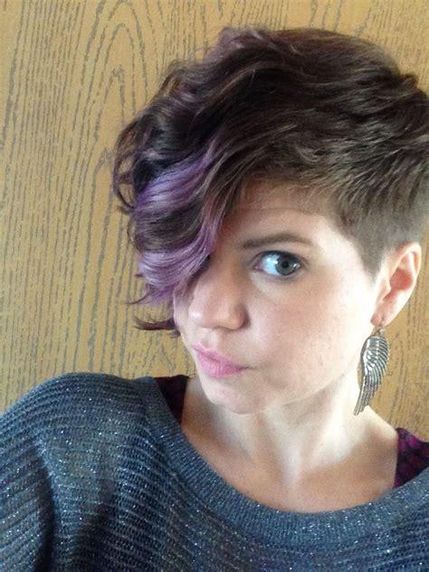asymmetrical undercut with purple curly hair vogue