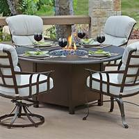 fire pit dining table Woodard Hammered 48 in. Round Fire Pit Table - Patio ...