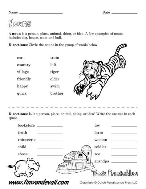 noun worksheet easy tim s printables
