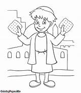 Passover Coloring Jewish Kid sketch template