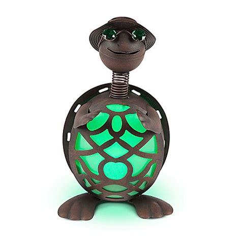 solar lighted metal turtle  browngreen bed bath