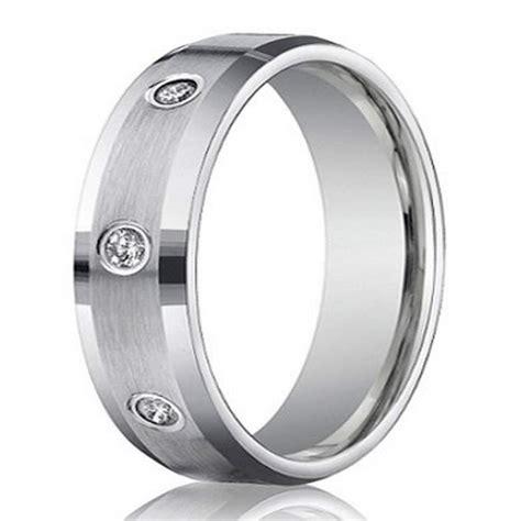 mens mm white gold diamond wedding ring    cut