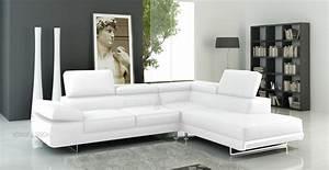 Canape Cuir Blanc Angle : photos canap d 39 angle cuir blanc ~ Teatrodelosmanantiales.com Idées de Décoration
