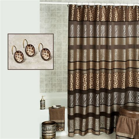 safari stripes animal print shower curtain