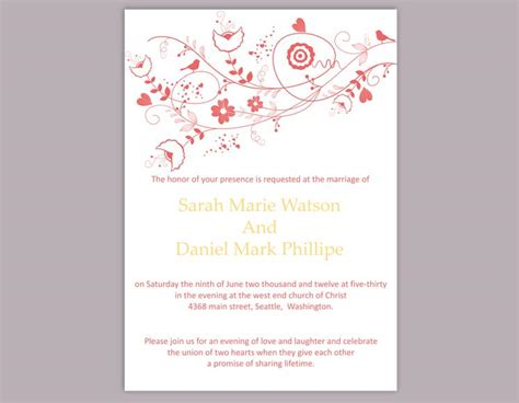 Diy Wedding Invitation Template Editable Word File Instant Floral Wedding Invitation