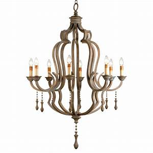Normandy large french wood light washed grey chandelier
