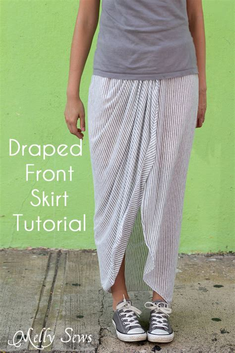 drape front skirt draped skirt tutorial melly sews
