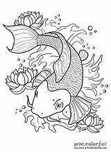Koi Fish Pond Drawing Outline Coloring Pages Japanese Print Tattoo Drawings Getdrawings Line Printcolorfun Colors sketch template