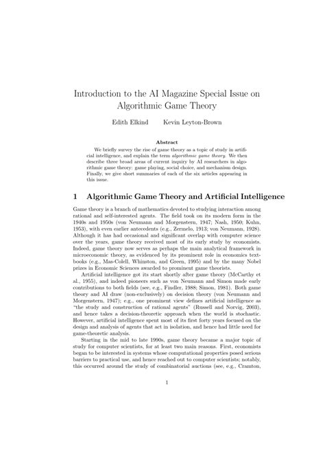 (PDF) Algorithmic Game Theory and Artificial Intelligence