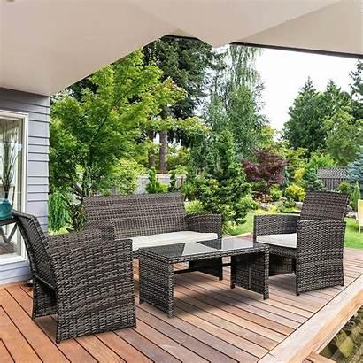Rattan Furniture Patio Wicker Outdoor Garden Costway