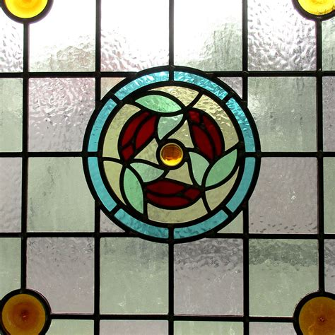 floral center stained glass panel  period home style