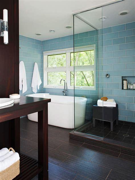 hgtv kitchen remodels blue glass subway tiles contemporary bathroom bhg