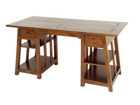 bureau massif moderne bureau moderne moka façon tréteau 2 tiroirs en