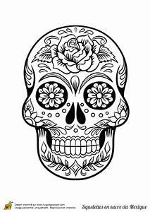 Dessin Tete De Mort Avec Rose : squelette sucre roses fleurs halloween dessin tete de mort coloriage t te de mort et t te ~ Melissatoandfro.com Idées de Décoration