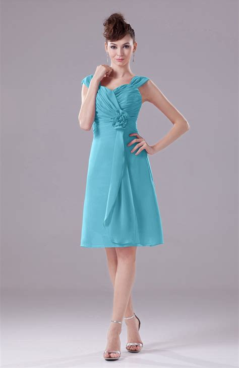 Turquoise Party Dress - Elegant A-line Thick Straps ...