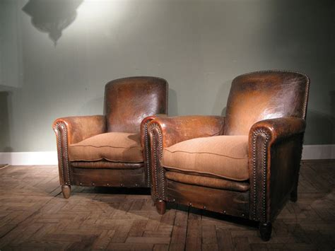 Good Pair Of 1920s French Leather Armchairs