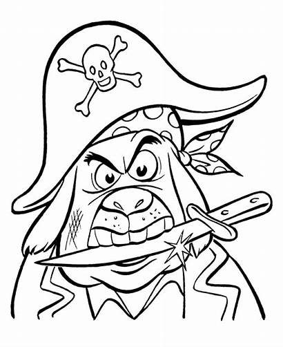 Pirate Coloring Pirates Cartoon Pages Scary Ship