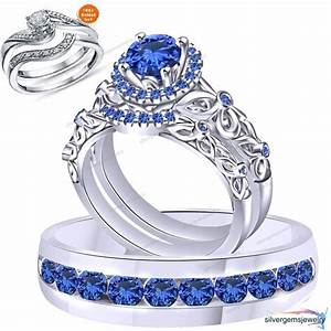 Blue sapphire silver trio set wedding engagement rings for Wedding bands and engagement ring sets