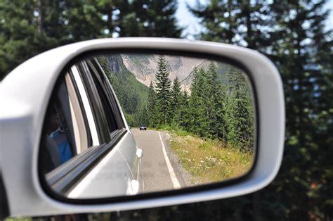Rear View Mirror View In Mt. Rainier National Park