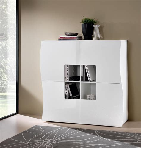 meuble de rangement design 4 portes laqu 233 blanc onida