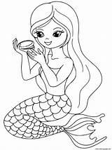 Coloring Makeup Pages Mermaid Printable Print Popular sketch template