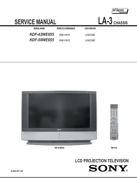 sony kdf 42we655 kdf 50we655 lcd tv service repair manual