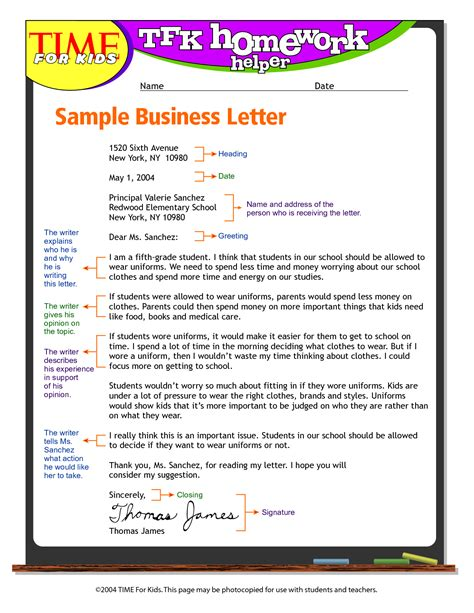 exandle business letter format  kids write business