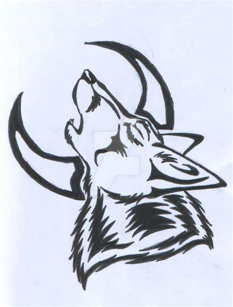 tribal wolf  moon tattoo