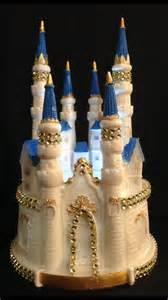 cinderella castle lighted cake topper in blue with