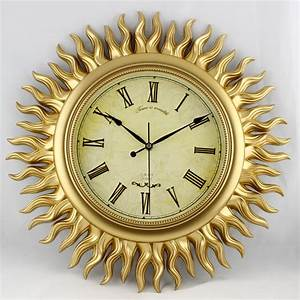 Popular sun wall clock buy cheap sun wall clock lots from for Large gold wall clocks