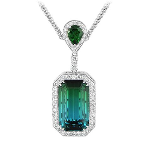 bi color tourmaline pendant blue green wixon jewelers