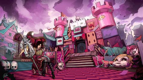 alice madness returns pink castle drawing wallpapers