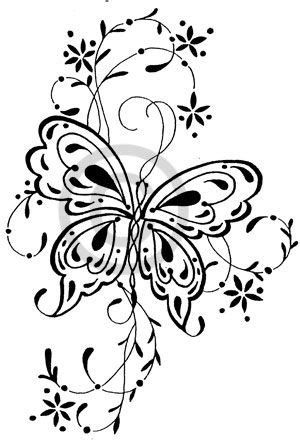 butterfly with vines tattoo. one big one with embellishments for me, 4 little ones for you