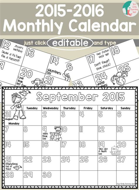 monthly calendar kids editable updates numbers