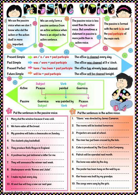 active  passive voice exercises  answers  class