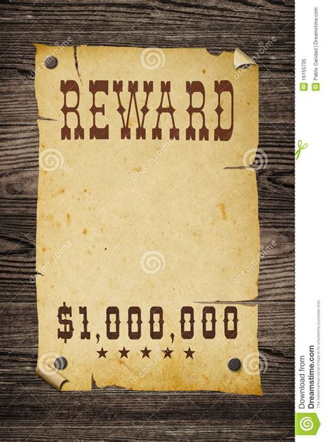 western reward sign stock image image  ancient