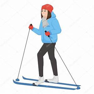 The young animation girl skis. Winter sport. Vector ...