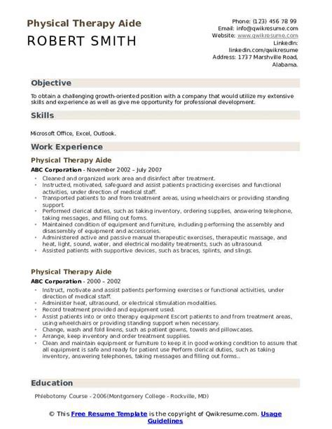 Give Me An Exle Of A Resume by Physical Therapy Aide Resume Sles Qwikresume