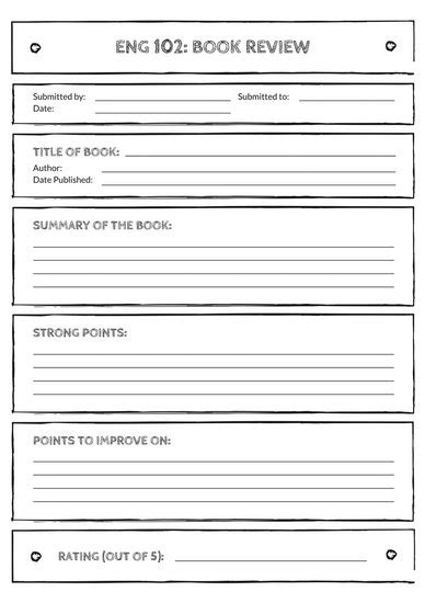 Black and White English Book Review Worksheet - Templates