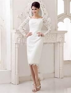 short wedding dresses 2018 lace long sleeve slit ivory With knee length lace wedding dress