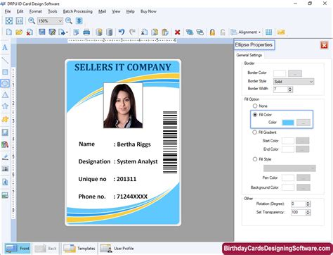 id cards designing software screenshots identity card