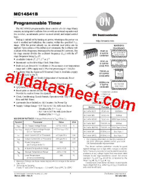 MC14541BCP Datasheet(PDF) - ON Semiconductor
