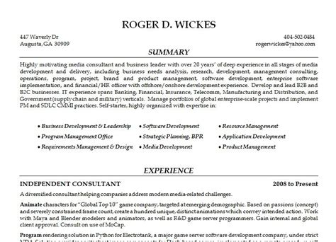 General Resume Summary Exles by Resume Reel Roger Wickes Creative Software Solutions