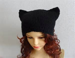 beanie with cat ears cat ears hat cat beanie chunky knit winter accessories by