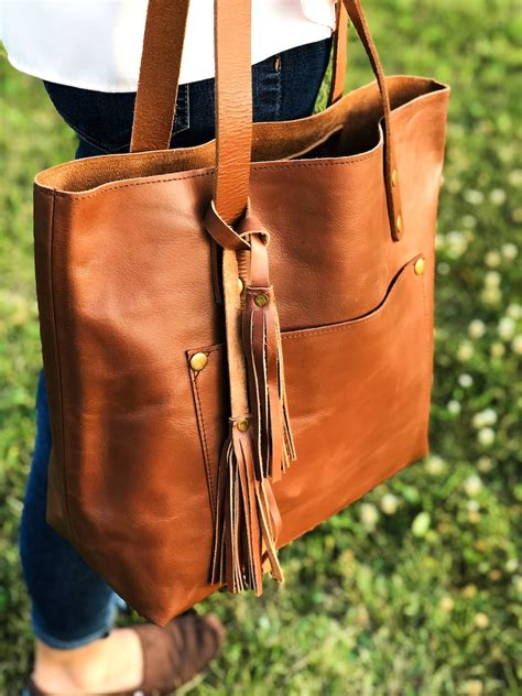 leather tote bag personalized tote  zipper  pocket