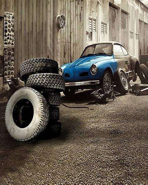 5x7ft Street Garage Car Repair Shop Tyres Vintage Portrait