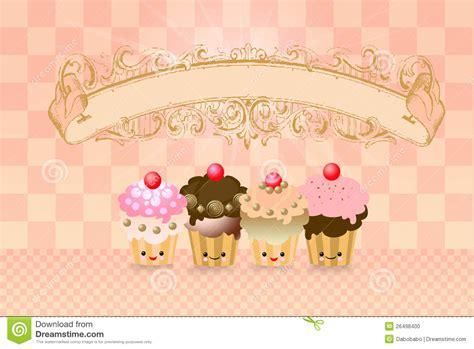 Cute kawaii cup cake stock illustration. Image of