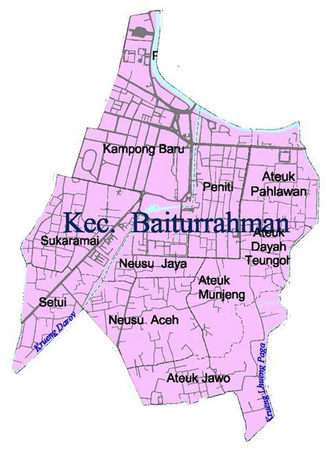 takjub indonesia peta kecamatan kecamatan  kota banda aceh